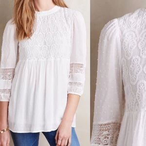 Anthropologie Meda White Lace Top